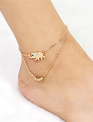 cheap -2017 Fashion Crystal Lucky Alloy Elephant Pendant Beads Chain Double Anklet For Women Beach Body Jewelry Summer Style For Daily Casual 1 pc
