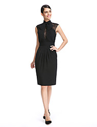 cheap -Sheath / Column High Neck Knee Length Chiffon Little Black Dress Cocktail Party Dress with Lace / Sash / Ribbon / Side Draping by TS Couture®