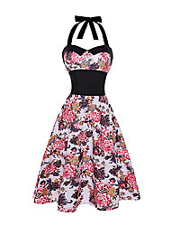 Women's Casual/Daily Beach Holiday Vintage Sheath Swing Dress,Floral Halter Knee-length Sleeveless Cotton Polyester Summer High Rise