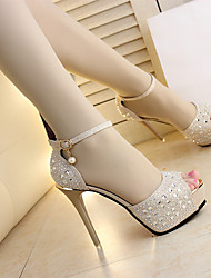 Women's Shoes Fabric Summer Comfort Sandals Stiletto Heel For Casual Gold Black Silver
