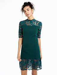 cheap -Women's Street chic Butterfly Sleeve Sheath Dress - Solid Colored, Lace