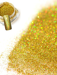 0.2g/bottle Fashion Gorgeous Laser Gold Shining Decoration Nail Art Glitter Holographic Fine Powder DIY Charm Shining Pigment JX02