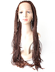 cheap -Synthetic Lace Front Wigs Braided Hair Straight Smallest Braids Heat Resistant Synthetic Wig