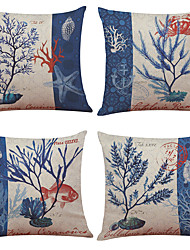 "Set of 4 Marine Organisms Pattern Linen Cushion Cover Home Office Decorative  Pillowcases (18""*18"")"