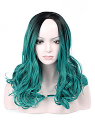 cheap -Fashion Black To Green Color Short Wave Woman's Synthetic Hair Wig for Party and Daily Life
