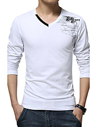 cheap -Men's Daily Plus Size Casual All Seasons T-shirt,Print V Neck Long Sleeves Cotton Spandex Medium