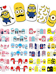 1pcs 12Design New Hot Fashion Lovely Cartoon Expression Image Design Nail Art Water Transfer Decals DIY Beauty Cute Decoration Sticker BN601-612