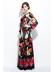 cheap -STEPHANIE Women's Daily Going out Swing Dress,Print Round Neck Maxi Long Sleeves Silk Spring Summer Mid Rise Inelastic Medium