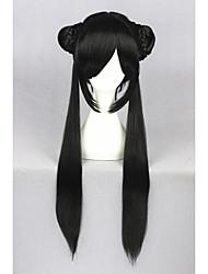 abordables -Pelo sintético pelucas Corte Recto Parte lateral Con coleta Con flequillo Sin Tapa Peluca de cosplay Larga Negro