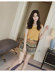 Women's Party/ Evening Daily Cute Summer Blouse Pant Suits,Print Round Neck Sleeveless Micro-elastic