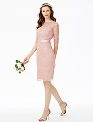 cheap -Sheath / Column Jewel Neck Knee Length All Over Lace Bridesmaid Dress with Bow(s) Sashes / Ribbons by LAN TING BRIDE®