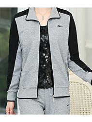 cheap -Women's Fall Hoodie Pant Suits Stand Long Sleeve Micro-elastic