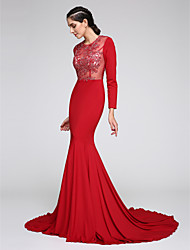 Fit & Flare Jewel Neck Court Train Jersey Formal Evening Dress with Appliques by TS Couture®
