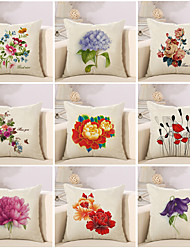 Set Of 9 Beautiful Flowers Printing Pillow Case 45*45Cm Sofa Cushion Cover Cotton/Linen Pillow Cover