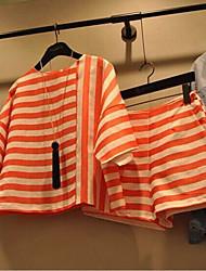 economico -T-shirt Pantalone Completi abbigliamento Da donna Per uscire Casual Spiaggia Semplice Divertente Moda città Estate,A strisce Maniche a 1/2