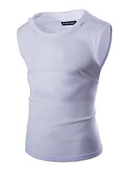 Masculino Camiseta Casual Activo Primavera Verão,Sólido Algodão Organico Decote Redondo Sem Manga Média