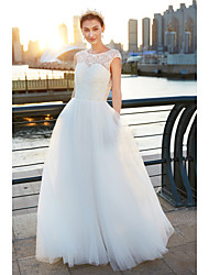 cheap -A-Line Scoop Neck Sweep / Brush Train Tulle Wedding Dress with Lace by LAN TING BRIDE®