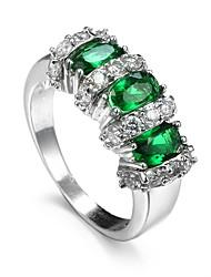 Damen Ring Synthetischer Smaragd Einzigartiges Design Modisch Euramerican Zirkon Aleación Schmuck Schmuck Für Hochzeit Besondere Anlässe