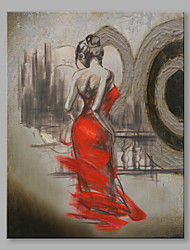 cheap -Abstract Oil Painting The Back of A Girl in Red Dress Framed Handmade Oil Painting For Home Decoration