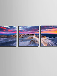 cheap -E-HOME Stretched Canvas Art Strange Sea Rocks Decoration Painting Set Of 3