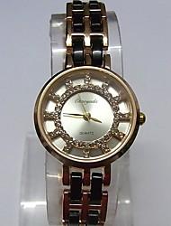 Mulheres Relógio de Moda Relógio de Pulso Bracele Relógio Quartzo Lega Banda Brilhante Pontos Casual Branco