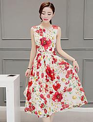 baratos -Mulheres Chique & Moderno Rodado Vestido - Estilo Moderno, Geométrica Médio