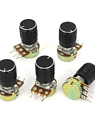 5 Piece 5K Ohm Linear Taper Rotary Potentiometer  B5K