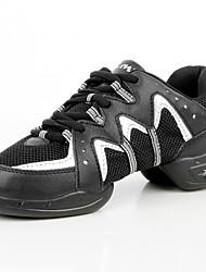 """Da donna Sneakers da danza moderna Maglia traspirante Sintetico Pelliccia sintetica Ballerine Da allenamento Piatto Nero e argento 1 """"- 1"""