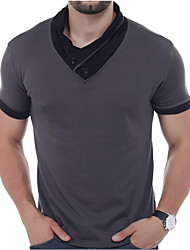 cheap -Men's Active Street chic Cotton Slim Polo - Solid Colored Patchwork
