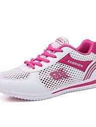 Feminino Tênis Conforto Solados com Luzes Tule Primavera Verão Outono Ar-Livre Casual Para Esporte Corrida Cadarço RasteiroRoxo Fúcsia