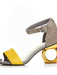 cheap -Women's Shoes Suede Spring / Summer Sandals Heterotypic Heel Open Toe Buckle Black / Yellow / Screen Color