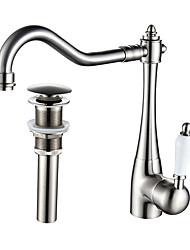 preiswerte -Moderne Hoch / High-Arc Mittellage drehbar Keramisches Ventil Einhand Ein Loch Gebürsteter Nickel , Armatur für die Küche