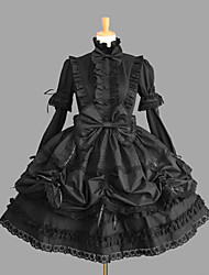 cheap -Gothic Lolita Dress Classic Lolita Dress Princess Punk Women's Girls' One Piece Dress Cosplay Black Cap Short Sleeves Short / Mini