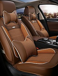 The 5 Seat Car Seat Leather Seat Cover Silk Cushion Surrounded By Four Seasons General 3D Stereo Coffee
