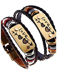 Недорогие -Муж. Жен. Кожаные браслеты - Кожа Природа, Мода Браслеты Черный / Коричневый Назначение Особые случаи Подарок