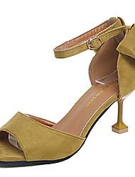 Недорогие -Для женщин Сандалии Кашемир Лето Для прогулок Бант На шпильке Черный Лиловый Желтый 7 - 9,5 см