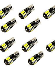 10PCS W5W T10/BA9S T4W 8SMD 5730 Decode Indicator Light Lamp Light Reading Light White DC12V 2W canbus