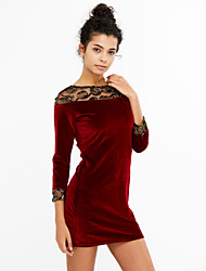 abordables -Mujer Corte Bodycon / Encaje Vestido Noche / Tallas Grandes Chic de Calle,Un Color Escote Redondo Sobre la rodilla Manga LargaRojo /
