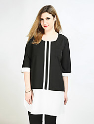 cheap -Really Love Women's Plus Size T-shirt - Color Block Patchwork