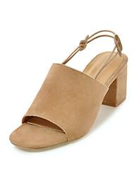 Women's Sandals Basic Pump Nubuck leather Summer Wedding Party & Evening Dress Basic Pump Side-Draped Chunky Heel Almond Green Black2in-2