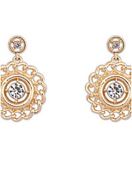 Drop Earrings Women's Girls' Euramerican Contracted Round Hollow-Out Imitation Diamond Earrings Party And Daily Movie Jewelry