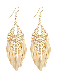 cheap -Hot Fashion Simple Elegant Plated Gold/Silver Geometry Tassel Drop Earrings For Women Dangle Long Earrings Jewelry Accessories Bijouterie