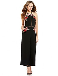 cheap -Women's Daily Club Pants Vintage Flower Hollow Embroidered Halter Jumpsuits,Wide Leg Sleeveless Summer Polyester