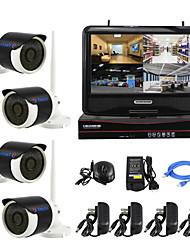 yanse® подключи и играй IP-безопасности комплект ЖК-экран беспроводной NVR p2p 960P HD IR ночного видения камеры WiFi система
