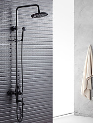cheap -Classic & Timeless Shower System Rain Shower Widespread Handshower Included Ceramic Valve Two Handles Two Holes Oil-rubbed Bronze, Shower