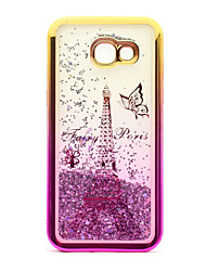 cheap -For Samsung Galaxy A3(2017) A5(2017) Case Cover Flowing Liquid Pattern Back Cover Case Glitter Shine Eiffel Tower Soft TPU