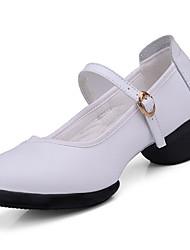 nein Damen Tanz-Turnschuh Echtes Leder Absätze Training Blockabsatz Weiß Schwarz Rot 10 cm und mehr