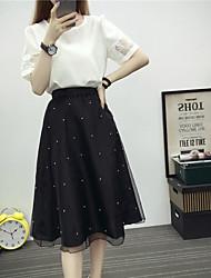 Women's Sport Summer T-shirt Skirt Suits,Striped Cowl Half Sleeve