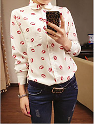 cheap -Women's Daily Going out Work Cute Sexy Shirt,Geometric Square Neck Long Sleeves Polyester