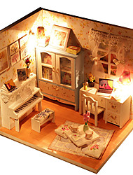 cheap -Hoomeda Dollhouse Model Building Kit Toys Hand-made Exquisite DIY LED Light Furniture House Textile Wood Plastic 1 Pieces Children's